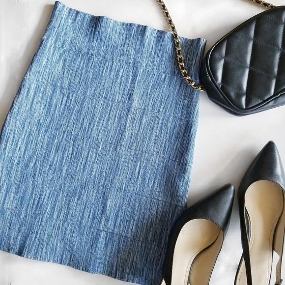 083ee7008 BCBGMaxAzria Skirts | Simone Blue Texture Bandeau Skirt | Poshmark